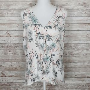 Maurice's Floral Sleeveless Blouse Top Ivory 323
